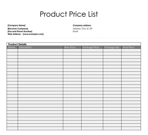 Price List Templates Free Sles And Formats For Excel Word Brand Checklist Template