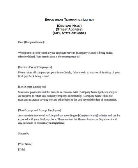 generic employee termination letter exle for your