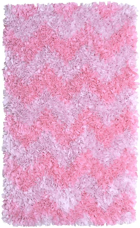 pink chevron shaggy raggy rug by the rug market