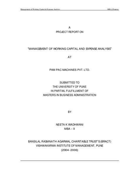 Mba Finance Project Report On Working Capital Management by Management Of Working Capital And Expense Analysis