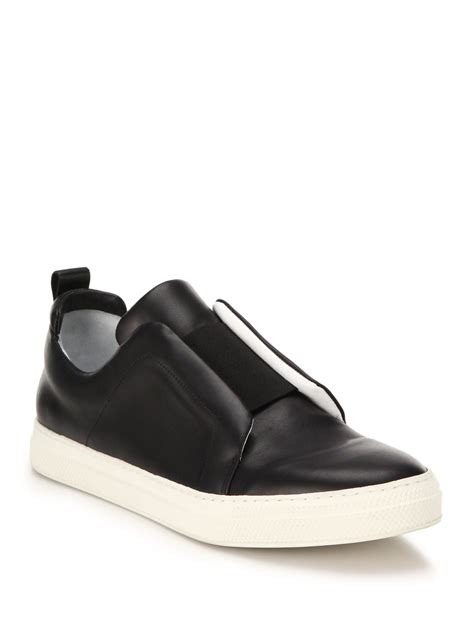 black slip on sneakers for hardy leather banded slip on sneakers in black for