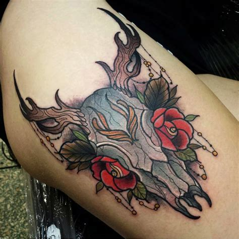 deer head tattoos 20 cool deer skull tattoos you ll adore