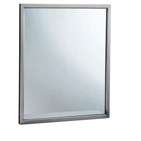 Tempered Glass Mirror Bobrick B 2908 1830 18 In X 30 In Welded Frame Mirror With Tempered Glass Ebay