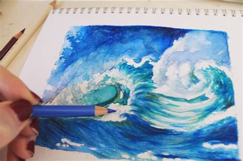 watercolor waves tutorial how to paint waves a step by step mixed media tutorial