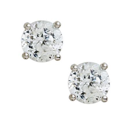 diamonique 100 facet stud earrings platinum clad
