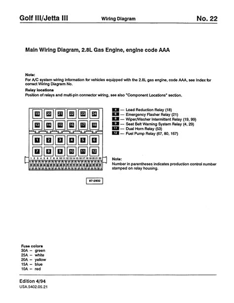 vw golf 3 jetta 3 wiring diagram service manual