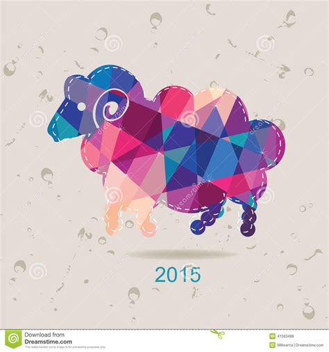new year 2015 year of the sheep or goat 2015 new year card with sheep made of triangles stock
