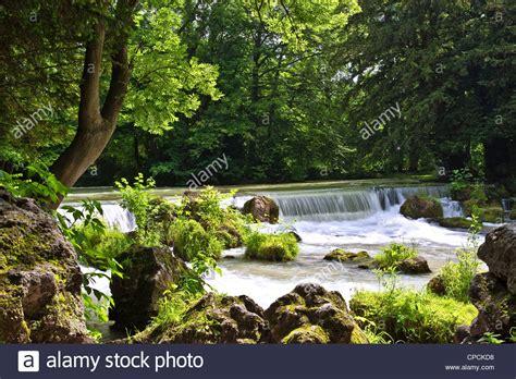 Englischer Garten River by Eisbach River With Waterfall Garden Munich