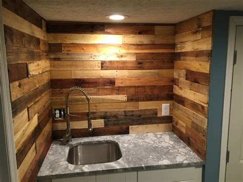 wood backsplash ideas pallet wood backsplash rustic basement columbus by