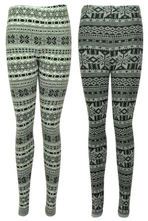 winter pattern leggings uk new ladies pattern knitted winter thick womens stretch