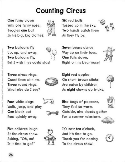 themes of the facebook sonnet counting circus number words sight words poem circus
