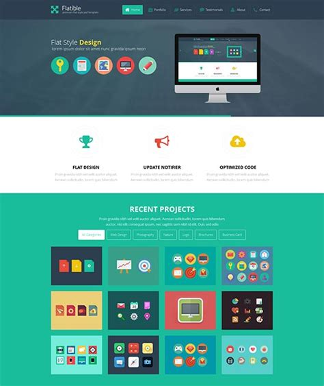template phlet design 50 best flat design website templates free premium