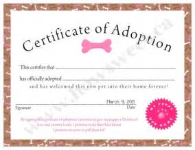 puppy adoption certificate pink blue sweetparties children artfire
