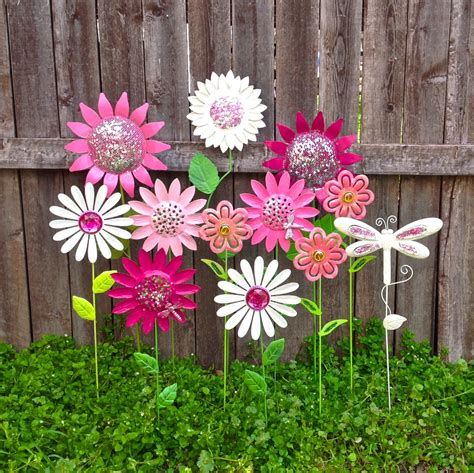 Metal Flower Garden Stakes Garden Metal Flower Garden Stakes W Dragonflies Pink
