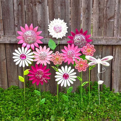 Garden Fun Metal Flower Garden Stakes W Dragonflies Pink Metal Garden Flowers