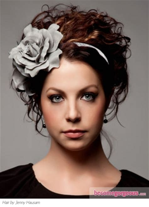 headband hairstyles for curly hair curly hair style updo with flower headband cool curly hair