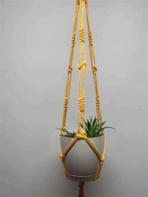 Hanging Macrame Planter - orange yellow hanging planter macrame plant hanger hanging