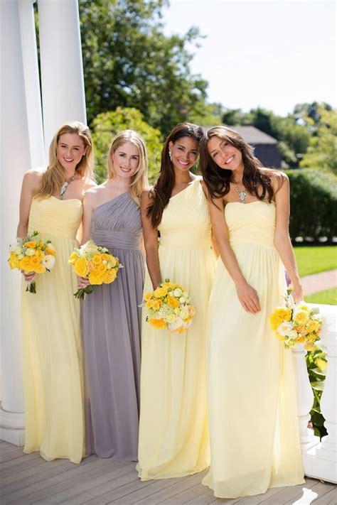 Yellow Bridesmaid Dress by 36 Cheerful Grey And Yellow Wedding Ideas Weddingomania