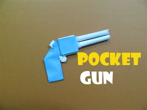 Make Paper Gun - how to make a paper pocket mini gun that shoots rubber