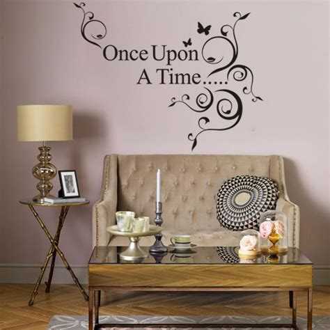 Once Upon A Time Home Decor Wall Sticker Black Saying Once Upon A Time Quotes Decals Vinyl Room Decor