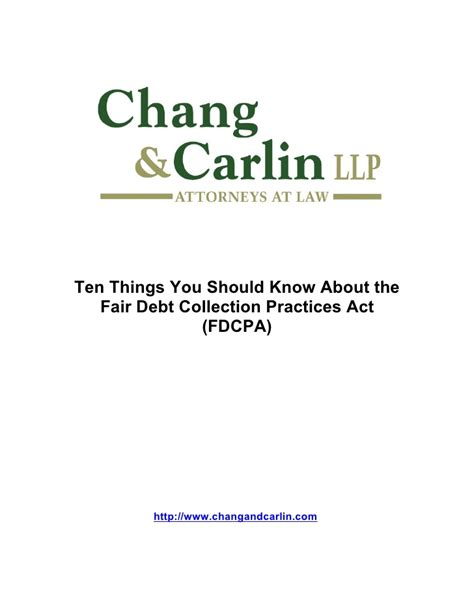 Fair Credit Collection Act Letter Ten Things You Should About The Fair Debt Collection Practices A