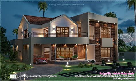 view of luxury villa in 3800 sq kerala home