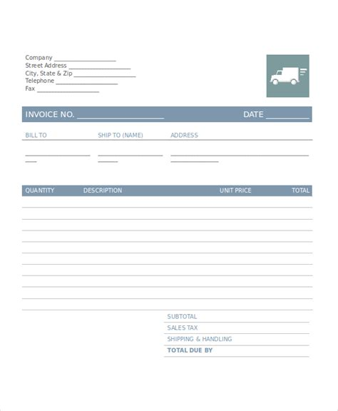 invoice template for trucking company company invoice template 5 free word excel pdf