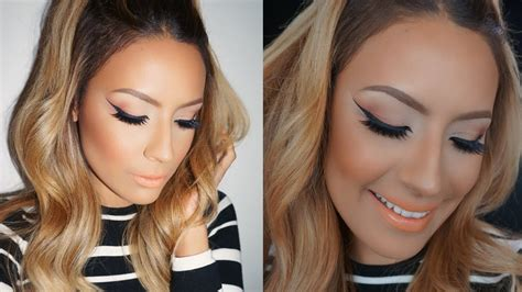 tutorial desi perkins peachy cat eye makeup tutorial desi perkins youtube