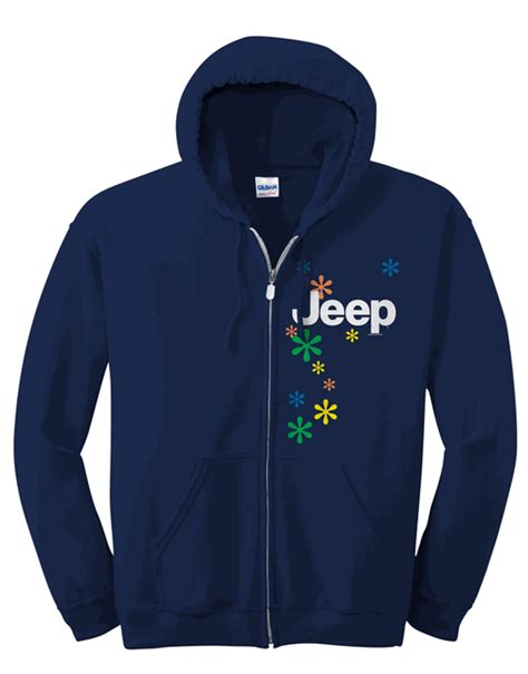 Jeep Hoodies All Things Jeep Zippered Hoodie Jeep Logo And Daisies