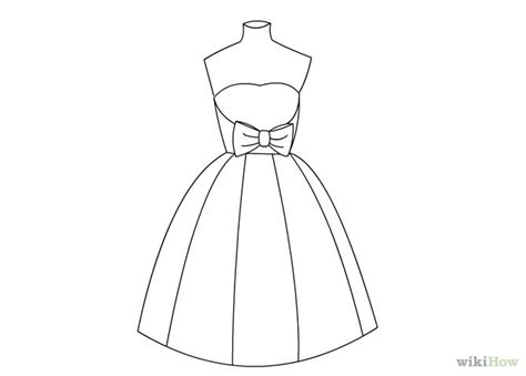 Step Outline by How To Draw A Dress Step By For Sketch Coloring Page