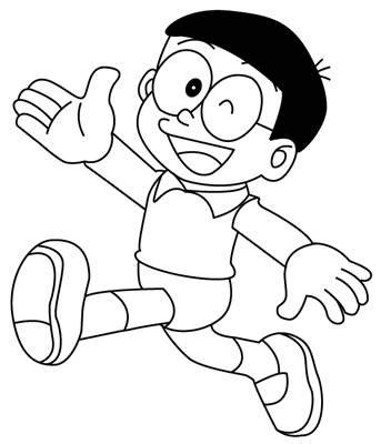 gambar kartun nobita hitam putih