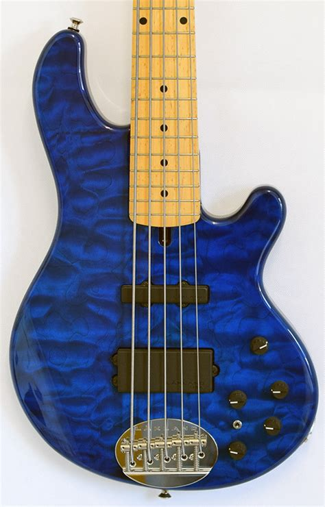 Blue Quilted Maple by Lakland 55 94 Deluxe Trans Blue Quilted Maple Neck