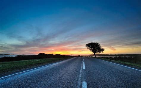 sunset road horizon scenic wallpapers sunset road