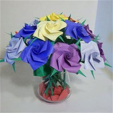 Origami Birthday Gifts - 16 origami paper folded flower craft handmade