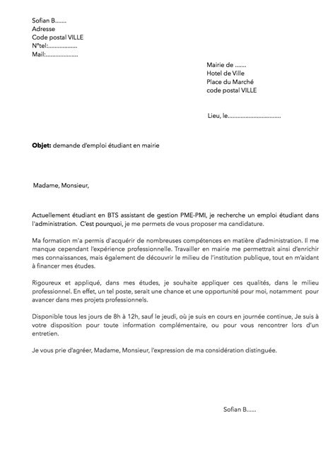 Lettre De Motivation Modele Etudiant