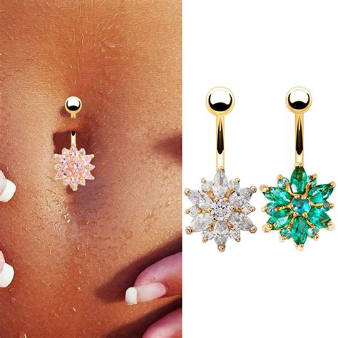 Flower Branch Belly Button Ring belly button rings rhinestone snow flower navel