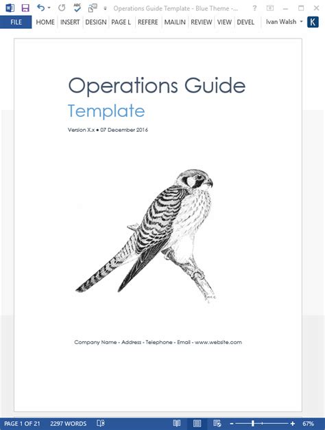 operation manual template word operations guide ms word template