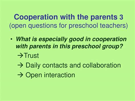 ppt parent trust and the cooperation during the preschool year powerpoint presentation
