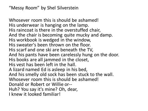 Room By Shel Silverstein by Form The Way A Poem Looks On Paper Line A Verse Of
