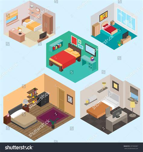 isometric view of bedroom isometric bedroom set stock vector 397408387 shutterstock