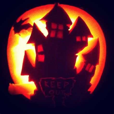 haunted house pattern for pumpkin carving haunted house pumpkin carving carved pumpkin pinterest