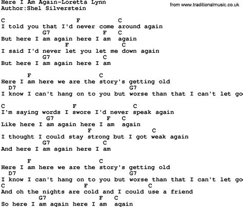 country here i am again loretta lyrics and chords