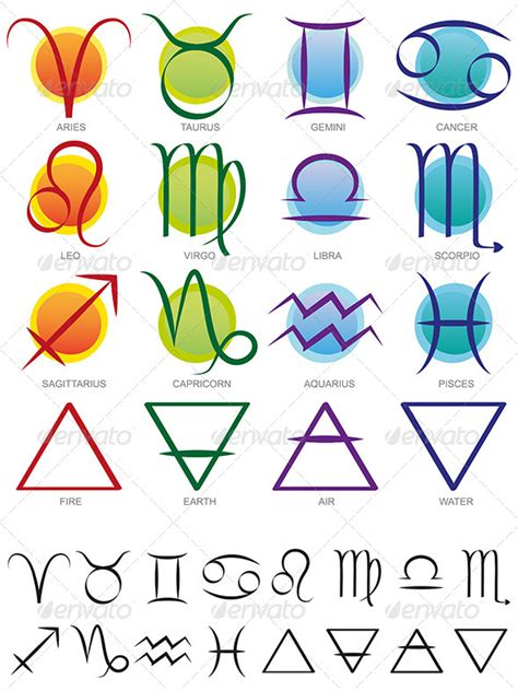 new year zodiac signs and elements zodiac elements sign and symbol set earth