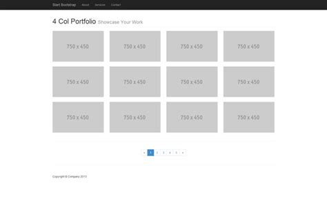 start bootstrap four column portfolio template for