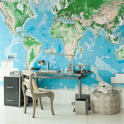office wallpaper ideas modern home office with world map mural