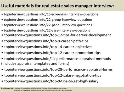 top 10 real estate sales manager questions and answers