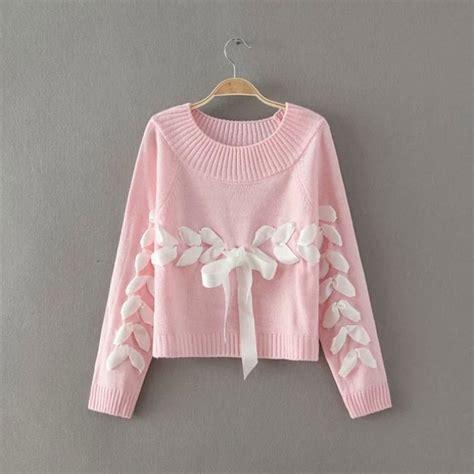 Ribbon Sweety Sweater Blouse Atasan Jaket sweet o neck weave ribbon raglan sleeve bow knit sweater sweaters cardigans