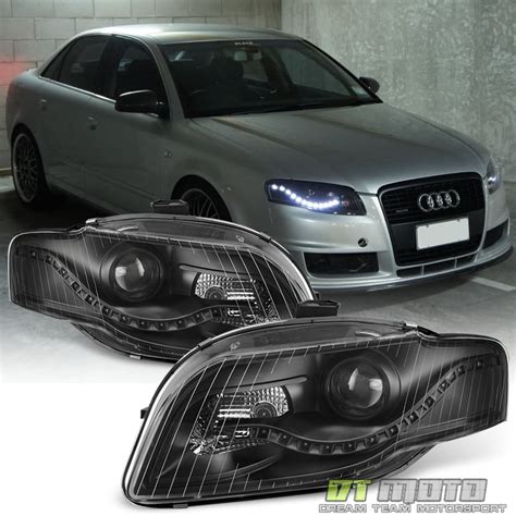 audi r8 headlights blk 2006 2008 audi a4 s4 b7 r8 style led drl halogen type