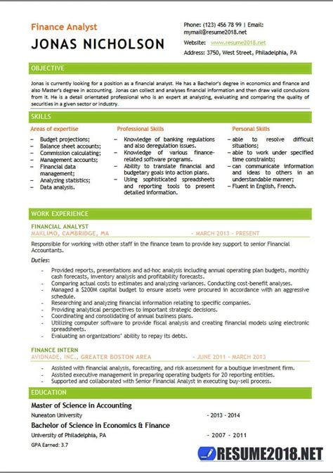 template for resume 2018 finance analyst resume templates 2018 resume 2018