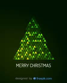 merry greeting card of digital tree vector free